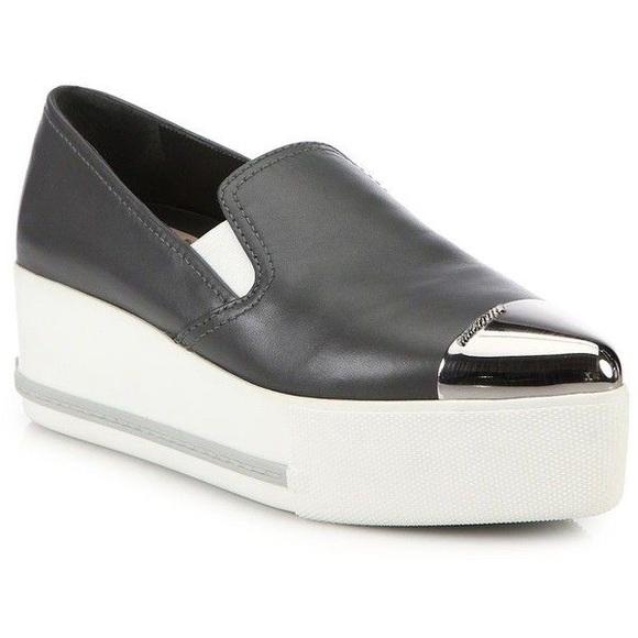 ebcecf8559e8 Miu Miu Shoes   Metal Toe Leather Platform Sneakers   Poshmark